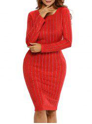Striped Long Sleeve Sheath Dress