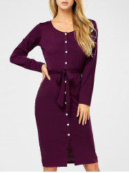 Button Up Long Sleeve Dress with Belt