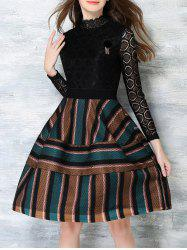 High Waist Lace Insert Striped Dress