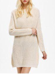 Long Sleeve Textured Mini Jumper Dress - APRICOT