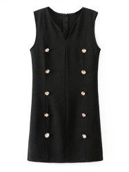 Sleeveless Double Breasted Sheath Dress
