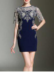 Embroidery See-Through Sheath Dress -