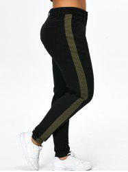 Color Block Plus Size Cigarette Jeans - BLACK