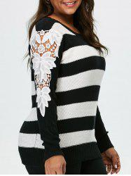 Plus Size Lace Panel Stripe Sweater - BLACK