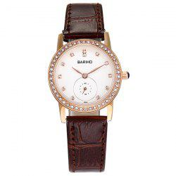 Rhinestoned Artificial Leather Watch