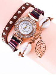 Braided Rhinestone Strand Bracelet Watch