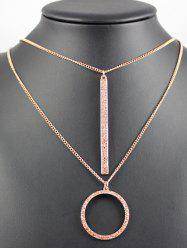 Layered Bar Ring Rhinestone Necklace