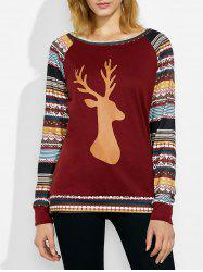 Christmas Deer Stripe Raglan Sleeve T-Shirt