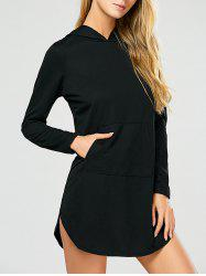 Side Slit Long Sleeve Dress with Pocket