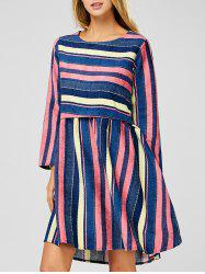 Long Sleeve Stripe Modest A-Line Dress - COLORMIX