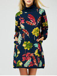 Wool Blend Printed Long Sleeve Dress