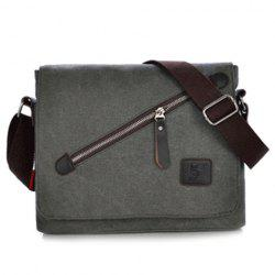 Canvas Zip Messenger Bag - GRAY