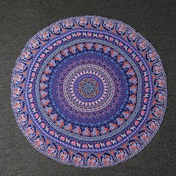 Tribal Bikini Boho Swimwear Totem Print Chiffon Round Beach Throw Scarf - LIGHT PURPLE