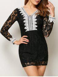 V Neck Lace Bodycon Mini Dress