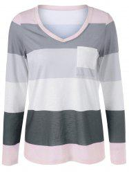 V Neck Striped Single Pocket T-Shirt -