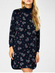 Long Sleeve Turtleneck Printed Dress