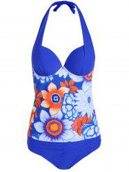 Halter Tropical Ruched Underwire Padded Tankini Set