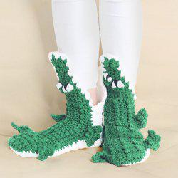 Knitted Cartoon Alligator Slipper Socks - GREEN