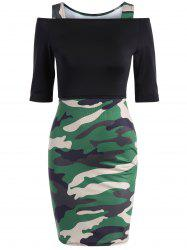 Camo Pinafore Dress  With Off The Shoulder Tee