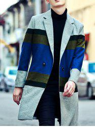 Color Block Lapel Long Buttoned Coat