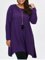 Long Sleeve Asymmetric Plus Size T-Shirt