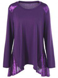 Plus Size Sequined Trim T-Shirt