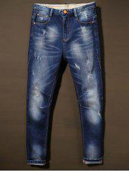 Cat's Whisker Holes Design Bleach Wash Jeans