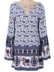 Bohemian Floral Criss Cross Cutout Tunic Dress -