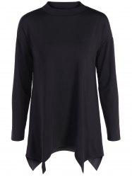 High Neck Asymmetric Long Sleeve Tee