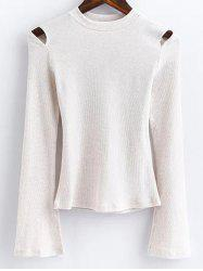 Flare Sleeve Cutout Ribbed Fitted Knitwear