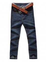 Zip Fly Straight Leg Jeans -