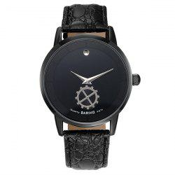 Faux Leather Vintage Analog Watch - BLACK