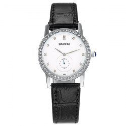 Vintage Rhinestone Faux Leather Watch