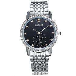 Stainless Steel Rhinestone Quartz Watch - SILVER