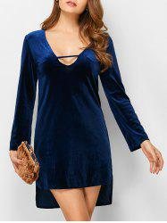 High-Low Velvet Mini Dress