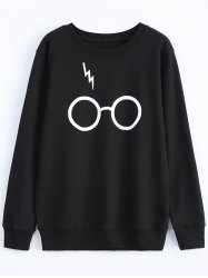 Streetwear Jewel Neck Glasses Pattern Sweatshirt - BLACK