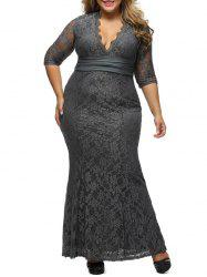 Lace Plus Size Bodycon Maxi Formal Party Dress with Sleeves
