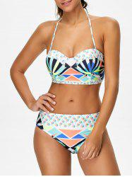 Halter Lace-Up Geometric Bikini Set