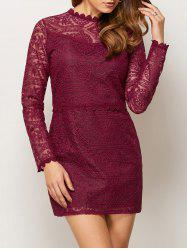 Ruff Collar Lace Mini Dress