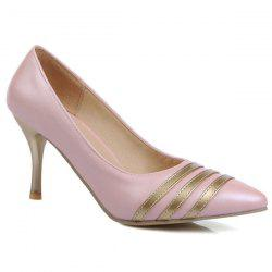 Striped Color Block Stitching Pumps - PINK
