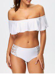 Ruffles Padded Top With High Waisted Briefs Bikini Swimsuit - WHITE M