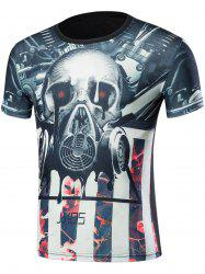 Short Sleeve 3D Skull Mask and Flowers Print T-Shirt - BLACK