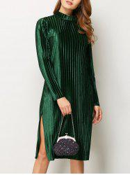 Slit Long Sleeve Pleated Velvet Shift Dress