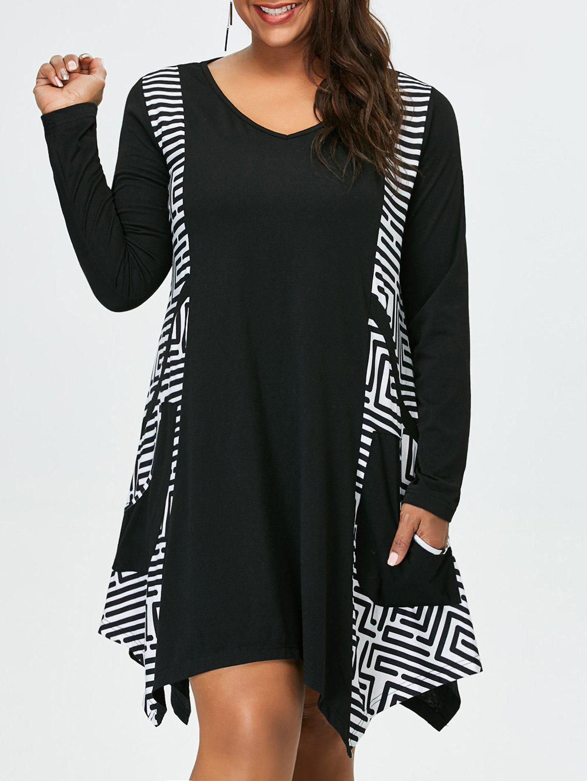 Plus Size Long Sleeve Asymmetrical Tee Dress with PocketsWOMEN<br><br>Size: 3XL; Color: WHITE AND BLACK; Style: Casual; Material: Polyester,Spandex; Silhouette: Asymmetrical; Dresses Length: Knee-Length; Neckline: V-Neck; Sleeve Length: Long Sleeves; Pattern Type: Others; With Belt: No; Season: Fall,Spring,Summer; Weight: 0.4200kg; Package Contents: 1 x Dress;
