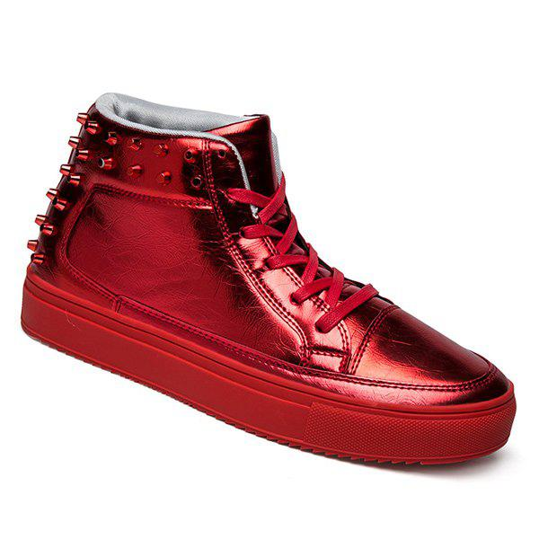 Chic Rivets Tie Up High Top Casual Shoes