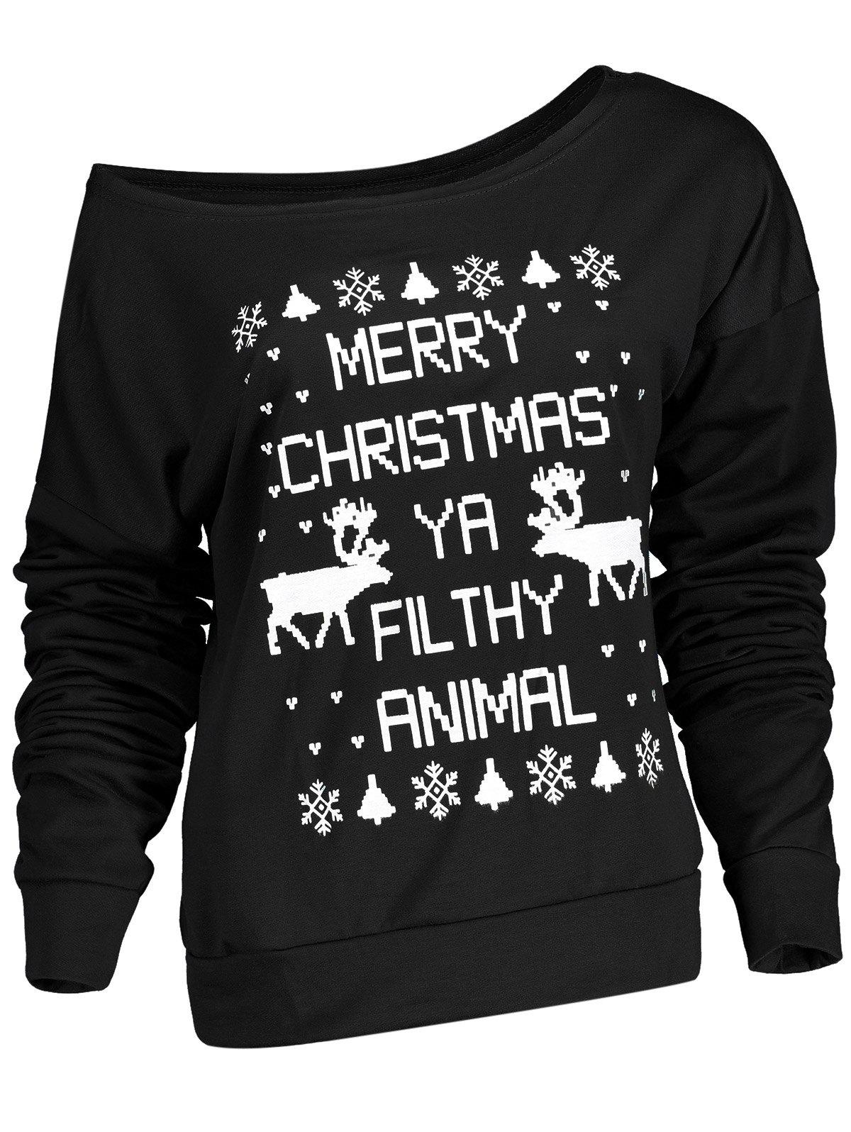 Unique Fresh Style Letter and Snowflake Print Pullover Christmas Sweatshirt For Women
