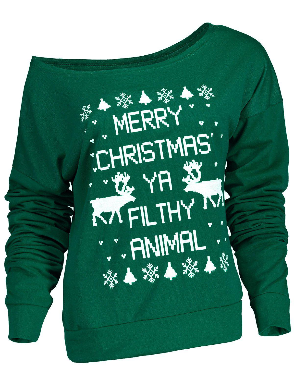 Fresh Style Letter and Snowflake Print Pullover Christmas Sweatshirt For WomenWOMEN<br><br>Size: XL; Color: GREEN; Material: Polyester; Shirt Length: Regular; Sleeve Length: Full; Style: Fashion; Pattern Style: Print; Weight: 0.380kg; Package Contents: 1 x Sweatshirt;