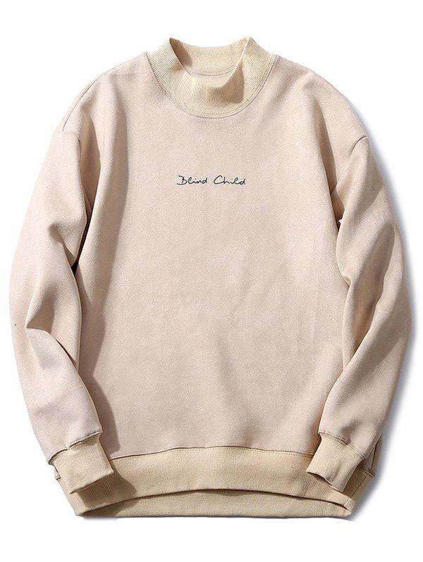 Fancy Mock Neck Embroidery Suede Sweatshirt