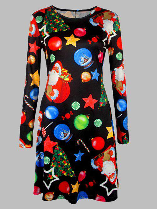 Plus Size Christmas Graphic A-Line DressWOMEN<br><br>Size: L; Color: BLACK; Style: Cute; Material: Cotton Blend,Polyester; Silhouette: A-Line; Dresses Length: Knee-Length; Neckline: Round Collar; Sleeve Length: Long Sleeves; Pattern Type: Print; With Belt: No; Season: Fall,Spring; Weight: 0.370kg; Package Contents: 1 x Dress;