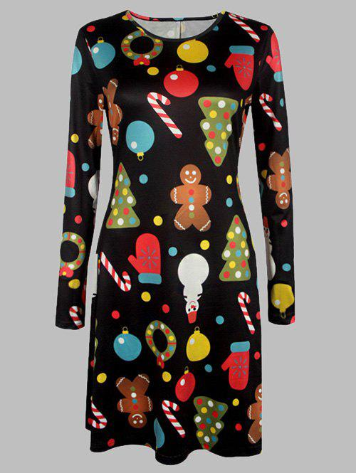 Plus Size Long Sleeves Christmas Graphic DressWOMEN<br><br>Size: 3XL; Color: BLACK; Style: Cute; Material: Cotton Blend,Polyester; Silhouette: A-Line; Dresses Length: Knee-Length; Neckline: Round Collar; Sleeve Length: Long Sleeves; Pattern Type: Print; With Belt: No; Season: Fall,Spring; Weight: 0.370kg; Package Contents: 1 x Dress;